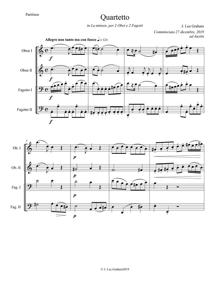Quartet in A minor for 2 Oboes and 2 Bassoons - Exposition 1 of 2